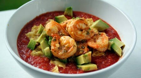 Seafood Sample: Hot and Cold Gazpacho with Grilled Shrimp and Crushed Tortilla Chips image